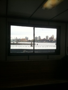 A view of the NY harbor from inside the ferry