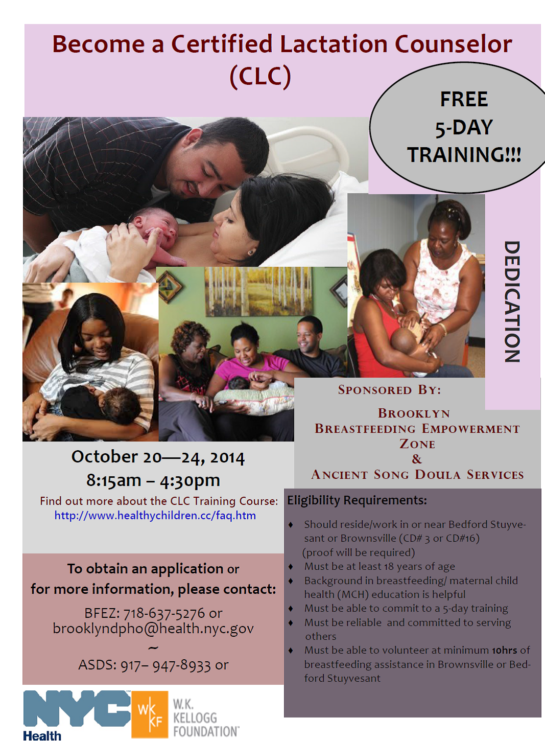 Free certified lactation counselor clc training the brooklyn breastfeeding empowerment zone and ancient song doulas are sponsoring a free training to increase the number of clcs in brownsville and bed 1betcityfo Choice Image